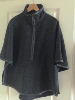 Cape, Poncho von Zara Grau-Schwarz Größe L
