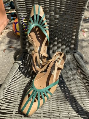 Caprice High Heel Sandal sand brown-turquoise leather