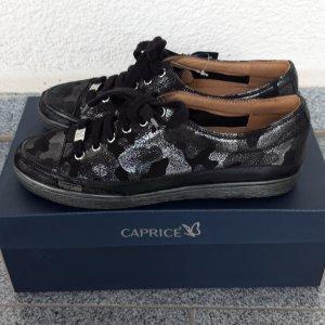 Caprice Echtleder Sneaker Camouflage schwarz/silber Gr.38 neu