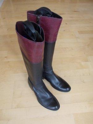 CAPRICE Lederstiefel Gr. 38 schwarz mit 10 cm burgunderfarbenem Abschluß