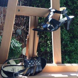 Sandalias de tacón de tiras negro Cuero