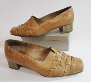 Caprice Schuhe Größe 40 6,5 Braun Flechtleder Cognac Pumps Leder Slipper Halbschuhe Bequem Weite G