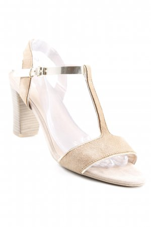 Caprice T-Strap Pumps camel-gold-colored wet-look