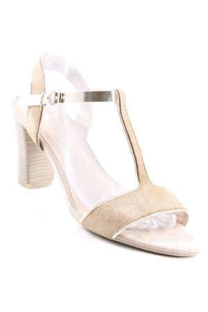 Caprice Zapatos de tacón con barra en T camel-color oro look efecto mojado