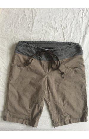 Caprihose / Knielange beige Hose mit grauem Bund