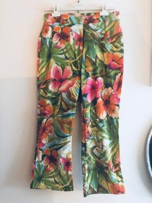 Caprihose Lisa Campione Ital. Designer hoher NP Boho tropical Flowers