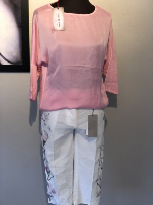 Pantalon 3/4 blanc-rose clair tissu mixte
