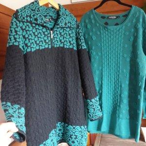 Capuccino Veste en tricot bleu cadet-noir coton