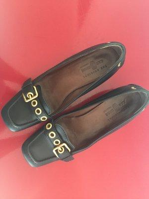 Car Shoe Loafers zwart-zandig bruin Leer