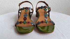 Car Shoe, Sandalen, Leder, grün-braun-blau, EU 37, neu