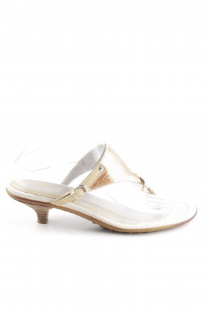 Car Shoe Zehentrenner-Sandalen goldfarben-wollweiß Elegant