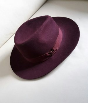 Cara Fedora Hut Bordeaux Rot Weinrot Wolle Wollhut Gr. M/L 56 cm