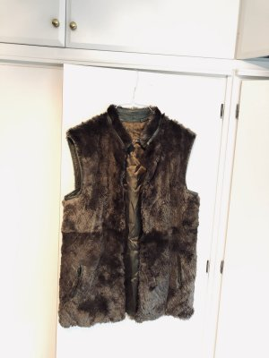 Fur vest black brown-dark grey pelt