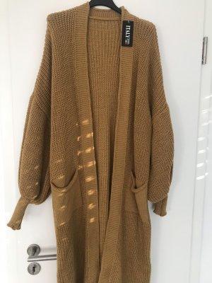 Knitted Cardigan sand brown-gold orange