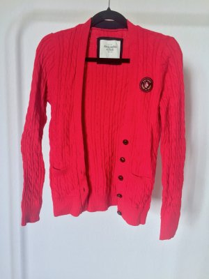 Cardigan ABERCROMBIE rot strick zopfmuster college jacke
