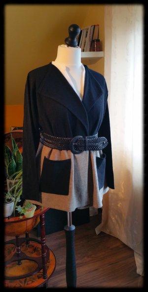 Cardigan aus Merinowolle Jacke Strick XL 42 44 schwarz beige
