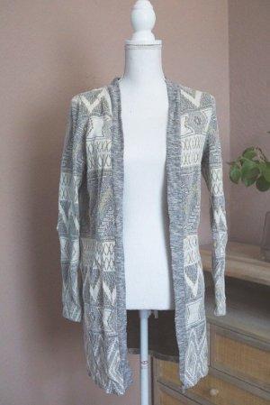 Cardigan Baumwolle Muster Beige Grau XS 34