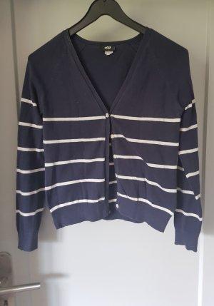 Cardigan blau mit weißen Streifen