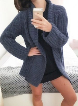 Coarse Knitted Jacket blue