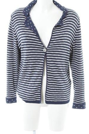 Cardigan dunkelblau-weiß Punktemuster Casual-Look