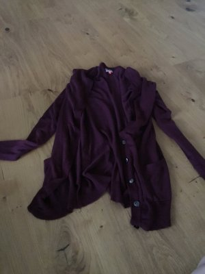 Only Cardigan lungo smanicato bordeaux