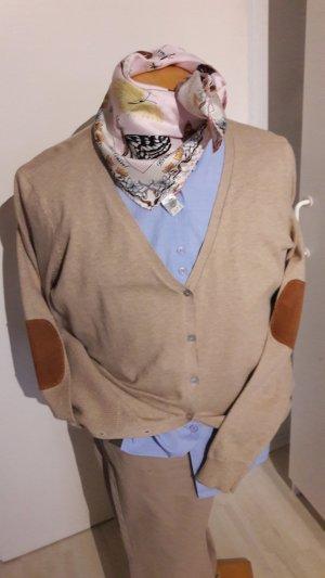 Veste en tricot chameau-marron clair tissu mixte
