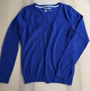 Cardigan Gr. S blau Jäckchen Strickjacke Feinstrick Knopfleiste dunkelblau wie neu