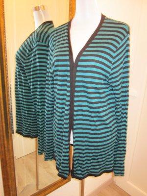Cardigan Grün Blau Gr XL Gestreift