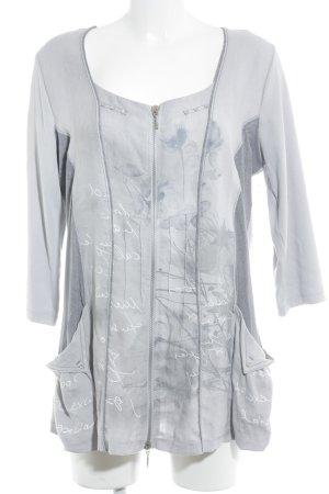 Cardigan gris clair motif floral style décontracté