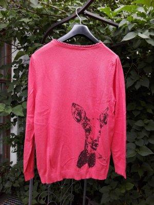 Cardigan Himmelblau by Lola Paltinger in Rot/Orange Gr. 42 mit Bambi-Print
