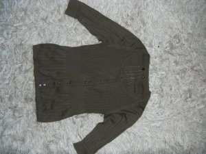 Cardigan in Ajourstrick, khaki, oliv, H&M, Gr. 34