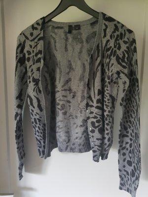 Cardigan in schwarz grauem Leopardenmuster