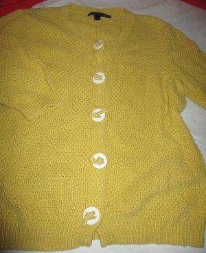 Cardigan jaune citron vert-blanc coton
