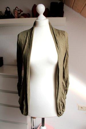 Cardigan Jäckchen Khaki braun Damen Größe S 36 38 Jacke lang mit Taschen Hollys