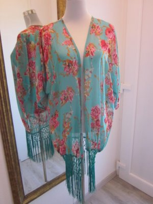Cardigan Kimono Grün Pink Geblümt mit Franzeln Neu Gr M/L