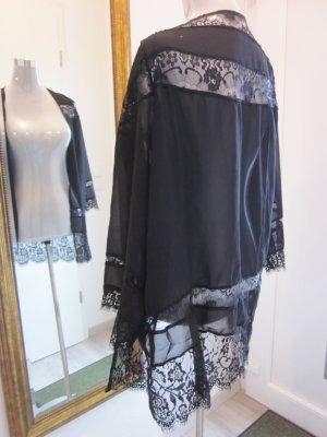 Cardigan Kimono Schwarz mit Spitze Neu Gr L