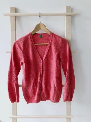 Benetton Cardigan in maglia rosso lampone-rosa