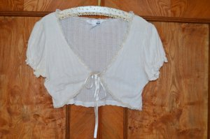 H&M Short Sleeve Knitted Jacket natural white cotton