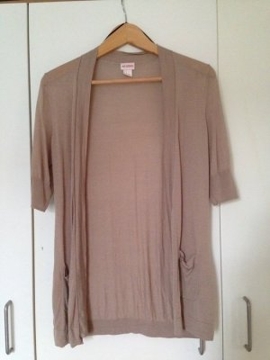 H&M Short Sleeve Knitted Jacket light brown-camel