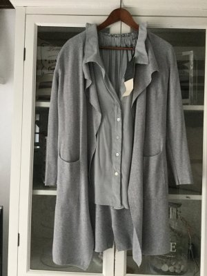 Knitted Coat light grey-silver-colored