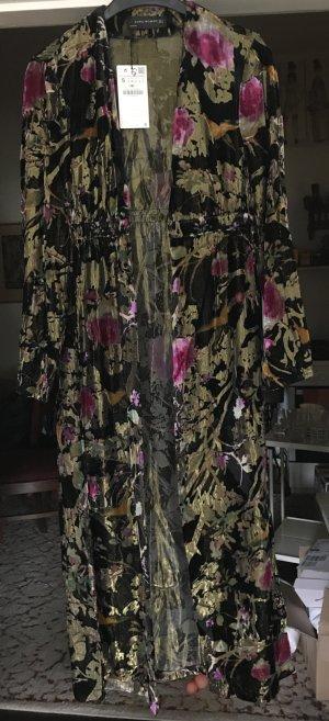 Zara Woman Abrigo largo multicolor tejido mezclado