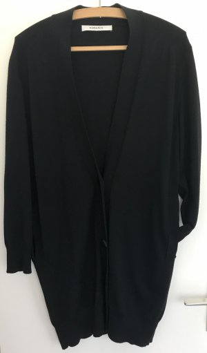 Cardigan Lange Strickjacke von VERSACE mit 2 Taschen und Knöpfen schwarz Größe 40 Wolle