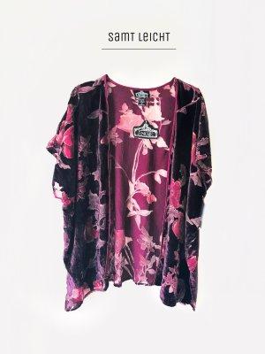 Cardigan leichte Jacke in weinrot mit Blumen Muster Jugendstil aus New York  boho / Angie