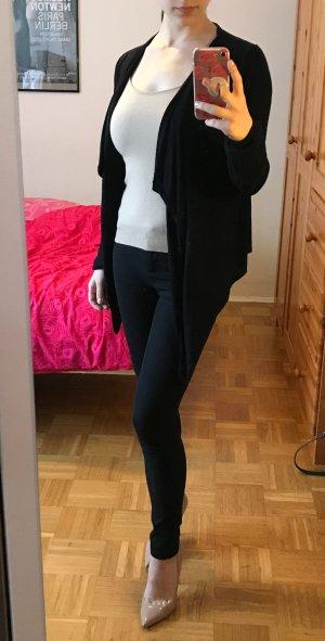 Cardigan Manguun Jäckchen Gr. 38 S M schwarz Jacke Strickjacke aus Materialmix