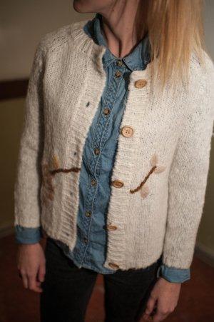 Zara Veste tricotée en grosses mailles crème tissu mixte