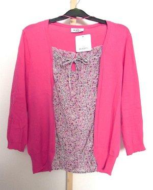Cardigan mit Bluse im Vorderteil Pink Geblümt Gr. 36/38 NEU