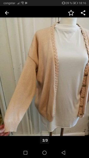 Coarse Knitted Jacket dusky pink-nude cotton
