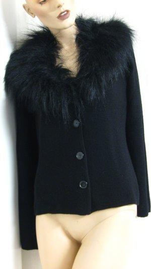 Cardigan mit Kunstfellkragen (abnehmbar), 50% Merino-Wolle