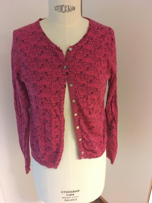 heart Cardigan black-magenta cotton