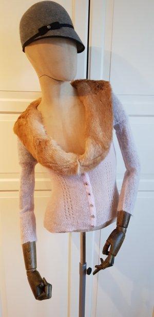 Cardigan Pullover Jacke mit abnehmbarem pelzkragen strass winter Weihnachten Silvester Sylvester